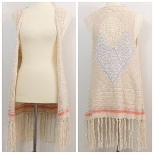 Blu Pepper Cotton Blend Knit Fringe Cardigan